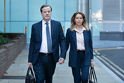 © Licensed to London News Pictures. 30/07/2020. London, UK. Charlie Elphicke arrives at Southwark Crown Court with his wife Natalie Elphicke . The former MP for Dover faces three charges of sexual assault against two women .  Photo credit: George Cracknell Wright/LNP
