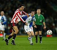 Fotball. Premier League 01.04.2002.<br /> Blackburn v Southampton.<br /> Keith Gillespie, Blackburn.<br /> Jo Tessem, Southampton.<br /> Foto: David Rawcliffe, Digitalsport