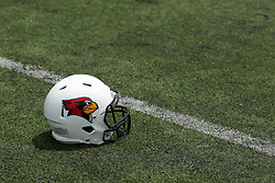 01 August 2017:   Redbird Football Helmet with logo on turf during 2017 Illinois State Redbirds Football Media Day at Hancock Stadium in Normal IL (Photo by Alan Look)