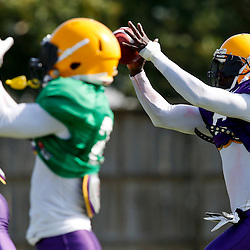 Aug 8, 2013; Baton Rouge, LA, USA; LSU Tigers safety Craig Loston (6) catches passes in a drill where vision is obscured by placing tape of the sides of the helmet during a fall practice at the McClendon Practice Facility. Mandatory Credit: Derick E. Hingle-USA TODAY Sports