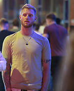MANCHESTER 19.09.2017:  England Cricket vice Captin seen leaving a Night club where students were celebrating there first week as freshers at Manchester universities. Stokes was with a friend<br /> <br /> NOTES To DESK:<br /> <br /> Ben pulled me to one side and said he was happy for the picture to be published but he did not want the lad in white shirt to have his picture in  the paper he said &quot; I am taking him away from some  very bad things and  trying to change his life around&quot; he then said  No one knows what I am  doing &quot;<br /> <br /> The lad he was talking about then called me a prick.