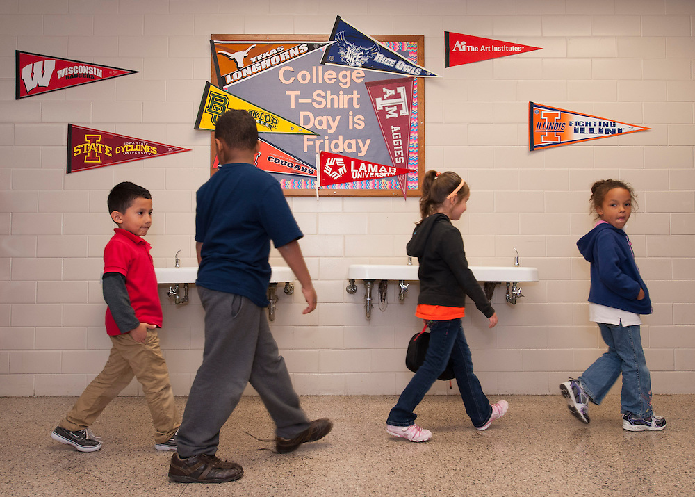 """Parker Elementary students pass through """"University Avenue"""" on their way to lunch, April 19, 2013."""
