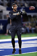 New Orleans Saints wide receiver Brandon Marshall (15) catches a pass while warming up before the NFL week 13 regular season football game against the Dallas Cowboys on Thursday, Nov. 29, 2018 in Arlington, Tex. The Cowboys won the game 13-10. (©Paul Anthony Spinelli)