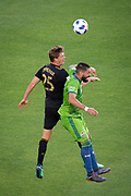 Los Angeles FC defender Walker Zimmerman (25) defends against during a MLS soccer match in the inaugural game at Banc of California Stadium in Los Angeles, Sunday, April 29, 2018. LAFC defeated the Sounders 1-0. (Eddie Ruvalcaba/mage of Sport)