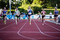 Maja Mihalinec (in the middle) competes in Women's 100m sprint during day one of the 2020 Slovenian Cup in ZAK Stadium on July 4, 2020 in Ljubljana, Slovenia. Photo by Grega Valancic / Sportida