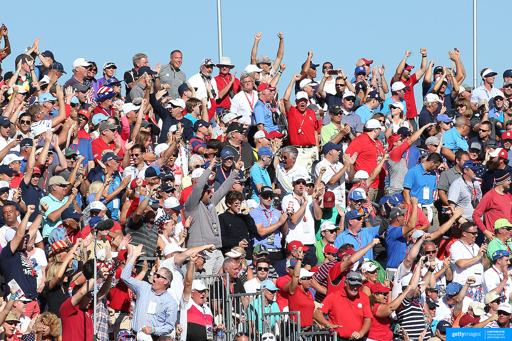 Ryder Cup 2016. Day Two. Spectators during the Ryder Cup watching play on the ninth at the Hazeltine National Golf Club on October 01, 2016 in Chaska, Minnesota.  (Photo by Tim Clayton/Corbis via Getty Images)