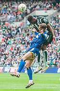Callum Kennedy of AFC Wimbledon and Jamille Matt of Plymouth Argyle in an aerial challenge during the Sky Bet League 2 Play-off Final at Wembley Stadium, London<br /> Picture by Matt Wilkinson/Focus Images Ltd 07814 960751<br /> 30/05/2016