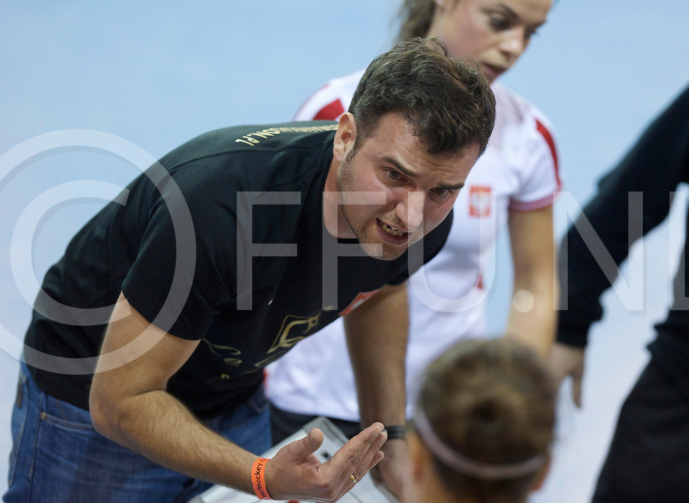 Prague - EuroHockey Indoor Championship (W) 2014<br /> 06 POL v BLR (Pool B)<br /> foto: Poland coach Krzysztof RACHWALSKI<br /> FFU PRESS AGENCY COPYRIGHT FRANK UIJLENBROEK