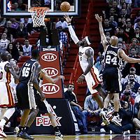17 January 2012: Miami Heat small forward LeBron James (6) goes for the layup past San Antonio Spurs small forward Richard Jefferson (24) during the Miami Heat 120-98 victory over the San Antonio Spurs at the AmericanAirlines Arena, Miami, Florida, USA.