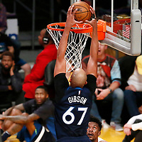 25 December 2017: Minnesota Timberwolves forward Taj Gibson (67) goes for the dunk during the Minnesota Timberwolves 121-104 victory over the LA Lakers, at the Staples Center, Los Angeles, California, USA.
