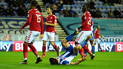 Will Grigg of Wigan Athletic falls onto the floor after missing a chance to score a goal - Mandatory by-line: Robbie Stephenson/JMP - 29/12/2017 - FOOTBALL - DW Stadium - Wigan, England - Wigan Athletic v Charlton Athletic - Sky Bet League One