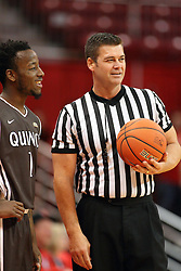 27 November 2015: Thomas Jackson and Jeff Campbell have a chat while waiting to inbound the ball. Illinois State Redbirds host the Quincy Hawks at Redbird Arena in Normal Illinois (Photo by Alan Look)
