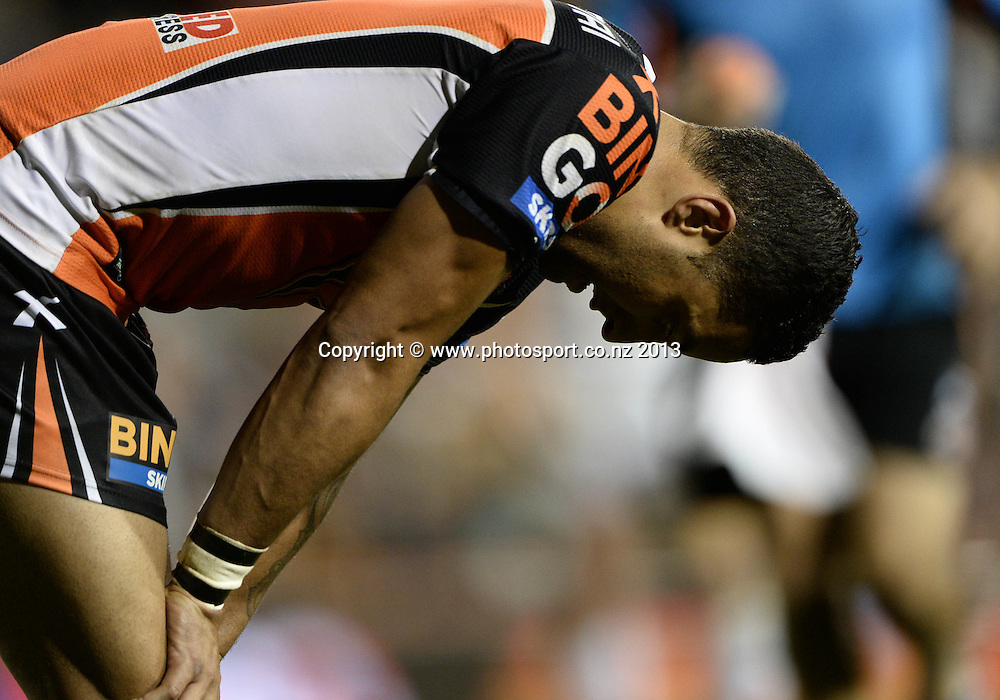 A dejected Benji Marshall. NRL Rugby League match, Vodafone Warriors v Wests Tigers at Leichhardt Oval in Sydney, Australia on Friday 19 July 2013. Photo: Andrew Cornaga/Photosport.co.nz
