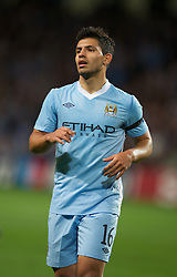 MANCHESTER, ENGLAND - Wednesday, September 14, 2011: Manchester City's Sergio Aguero in action against SSC Napoli during the UEFA Champions League Group A match at the City of Manchester Stadium. (Photo by Chris Brunskill/Propaganda)