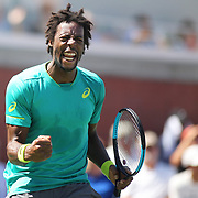 2017 U.S. Open Tennis Tournament - DAY THREE. Gael Monfils of France in action against Jeremy Chardy of France during the Men's Singles round one match on court seventeen at the US Open Tennis Tournament at the USTA Billie Jean King National Tennis Center on August 30, 2017 in Flushing, Queens, New York City. (Photo by Tim Clayton/Corbis via Getty Images)
