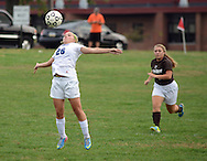 FAIRLESS HILLS, PA -  OCTOBER 3: Conwell Egan's Olivia Taylor (26) uses her chest to gain control of the soccer ball as St. Hubert's Julianna Costello (8) chases during a girls soccer game October 3, 2013 in Fairless Hills, Pennsylvania.  (Photo by William Thomas Cain/Cain Images)