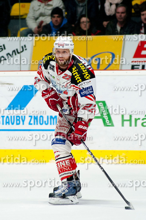 15.03.2015, Ice Rink, Znojmo, CZE, EBEL, HC Orli Znojmo vs EC KAC, 59. Runde, 5. Viertelfinale, im Bild Thomas Pock (EC KAC) // during the Erste Bank Icehockey League 59th round match, 5th quarterfinal between HC Orli Znojmo and EC KAC at the Ice Rink in Znojmo, Czech Republic on 2015/03/15. EXPA Pictures © 2015, PhotoCredit: EXPA/ Rostislav Pfeffer