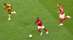England's Raheem Sterling (centre) with the ball during the FIFA World Cup third place play-off match at Saint Petersburg Stadium.