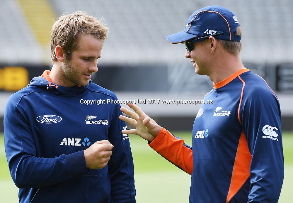 Kane Williamson and Glenn Phillips.<br /> International Twenty20 Cricket. New Zealand Black Caps v South Africa, Eden Park, Auckland, New Zealand. Friday 17 February 2017 &copy; Copyright photo: Andrew Cornaga / www.photosport.nz