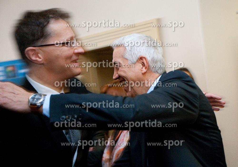 Dr. Igor Luksic and Nar Zanolin of FIBA Europe celebrate at Eurobasket 2013 Candidate presentation of Slovenia at FIBA EUROPE Board on December 05, 2010 in Munich, Germany. The Board decided that Eurobasket 2013 will be in Slovenia. (Photo By Vid Ponikvar / Sportida.com)