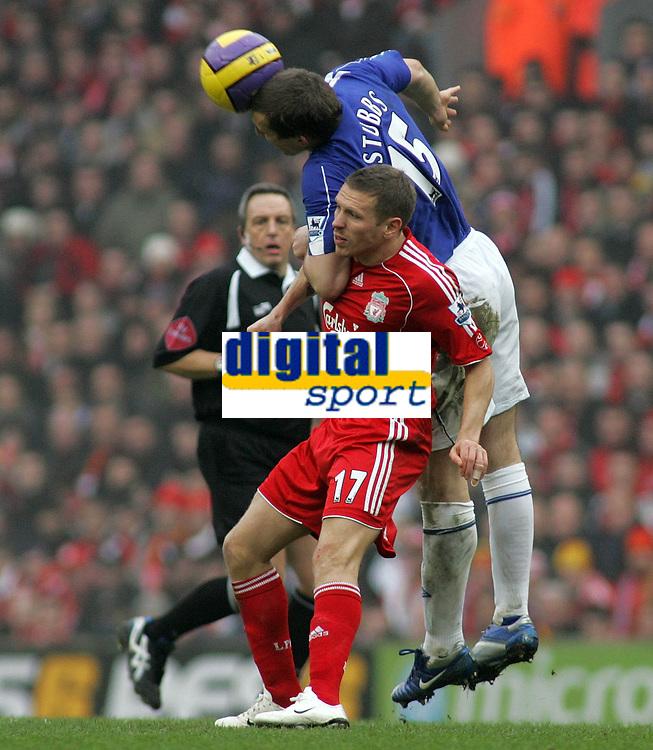 Photo: Paul Thomas.<br /> Liverpool v Everton. The Barclays Premiership. 03/02/2007.<br /> <br /> Alan Stubbs (15) of Everton climbs over Craig Bellamy to win a header.