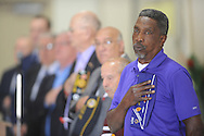 "Chester Starks sings ""God Bless America"" during a Memorial Day ceremony at the National Guard Armory  in Oxford, Miss. on Monday, May 27, 2013. (AP Photo/Oxford Eagle, Bruce Newman)"