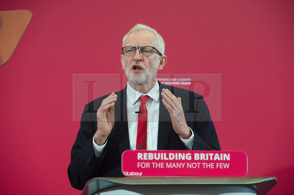 © Licensed to London News Pictures. 09/05/2019.<br /> Medway,UK. Labour leader Jeremy Corbyn launching the Labour Party's European election manifesto at University of Kent, Medway campus, Kent.Photo credit: Grant Falvey/LNP