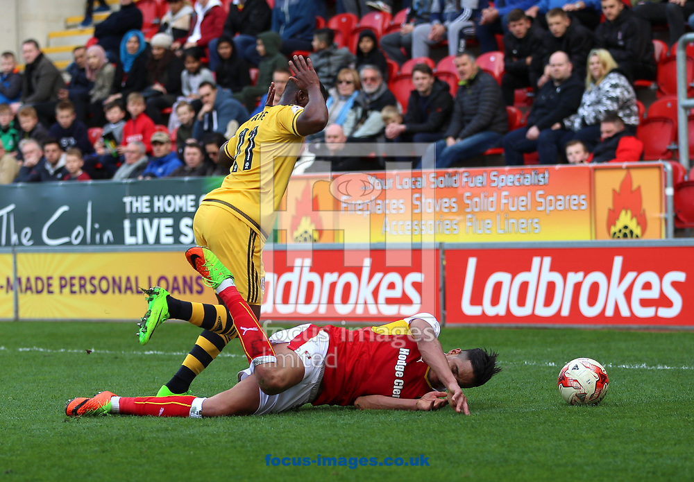 Aimen Belaid of Rotherham United is fouled by Floyd Ayite of Fulham during the Sky Bet Championship match at the New York Stadium, Rotherham<br /> Picture by James Wilson/Focus Images Ltd 07709 548263<br /> 01/04/2017