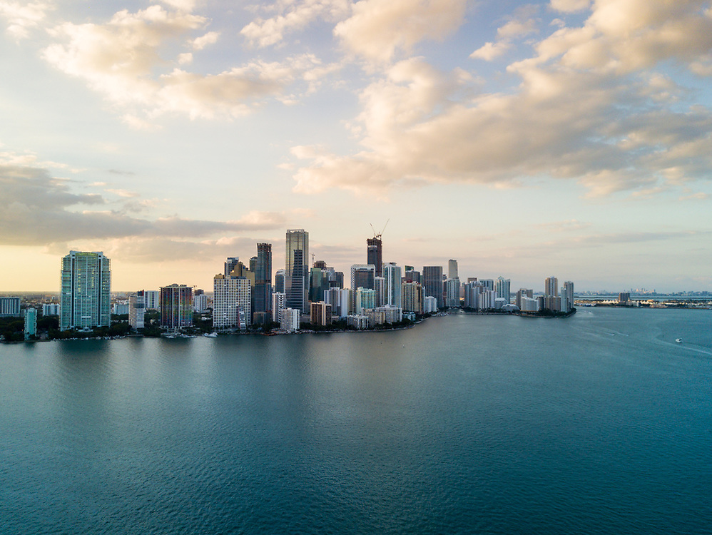 MIAMI, FLORIDA - CIRCA APRIL 2017: Aerial View of Biscayne Bay and Brickell from Key Biscayne in Miami