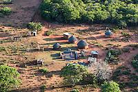 Aerial view of a rural Zulu homestead, Hluhluwe, KwaZulu Natal, South Africa