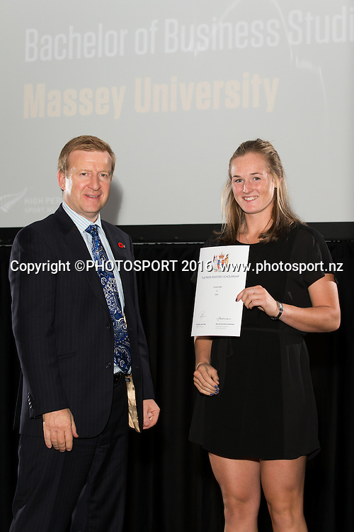 Hon. Jonathan Coleman presents certificate to Rowing Claudia Hyde at the High Performance Sport NZ Waikato ceremony for the Prime Minister's Scholarship Awards, at Sir Don Rowlands Centre, Lake Karapiro, Cambridge, New Zealand, 20 April 2016. Copyright Photo: Stephen Barker / www.photosport.nz