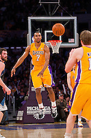 16 March 2012: Guard Ramon Sessions of the Los Angeles Lakers passes the ball against the Minnesota Timberwolves during the second half of the Lakers 97-92 victory over the Timberwolves at the STAPLES Center in Los Angeles, CA.