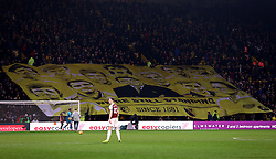 A banner featuring Graham Taylor is unfurled by fans in the stands at Vicarage Road