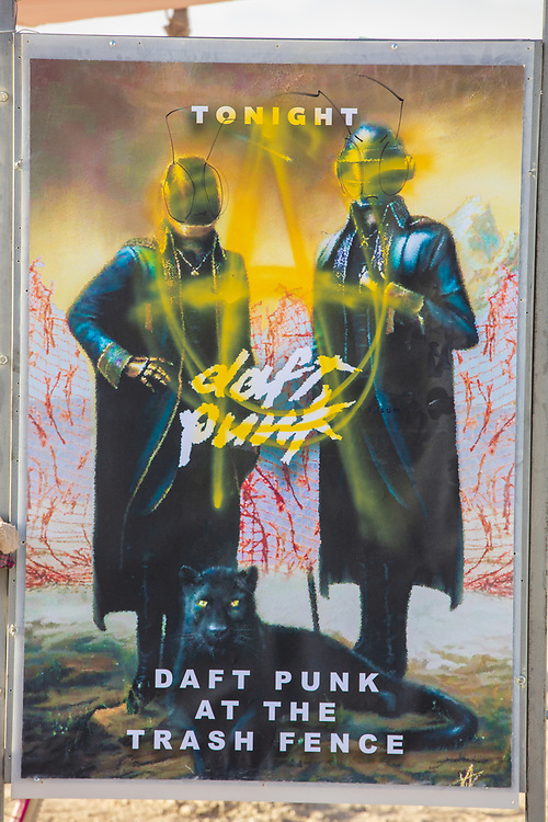 Daft Punk Bus Stop Poster at The Intersection X<br /> by: Invisible Pink Unicorns<br /> from: Moscow, Russia<br /> year: 2019<br /> <br /> Nothing stays the same. We are changing all the time and the world around us is changing as well. In the place of last year intersection the new one appeared. It is the same, but absolutely different. Metamorphose took its toll.<br /> <br /> URL: https://www.facebook.com/theintersectionart<br /> Contact: kirill.v.ivanov@gmail.com<br /> <br /> https://burningman.org/event/brc/2019-art-installations/?yyyy=&artType=H#a2I0V000001AVyvUAG