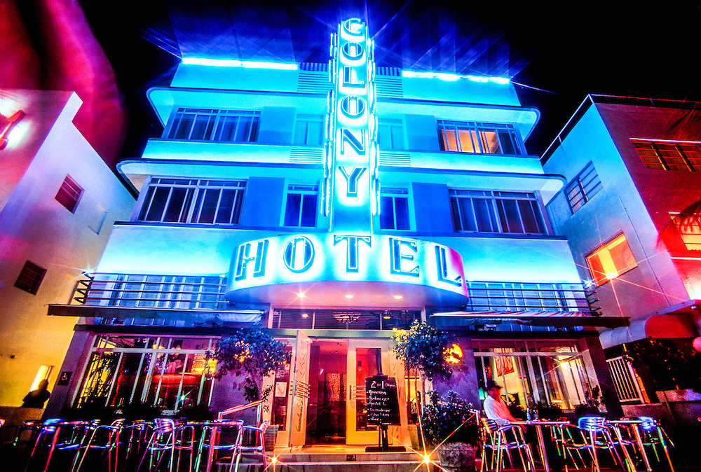 The Colony Hotel on South Beach's neon-lit Ocean Drive was designed by Henry Hohauser in 1935 and remains an iconic expresion of this historic neighborhood's signature Tropical Deco style.<br />
