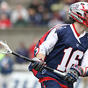 Jack Rice #16 of the Boston Cannons controls the ball during the game at Harvard Stadium on April 27, 2014 in Boston, Massachusetts. (Photo by Elan Kawesch)