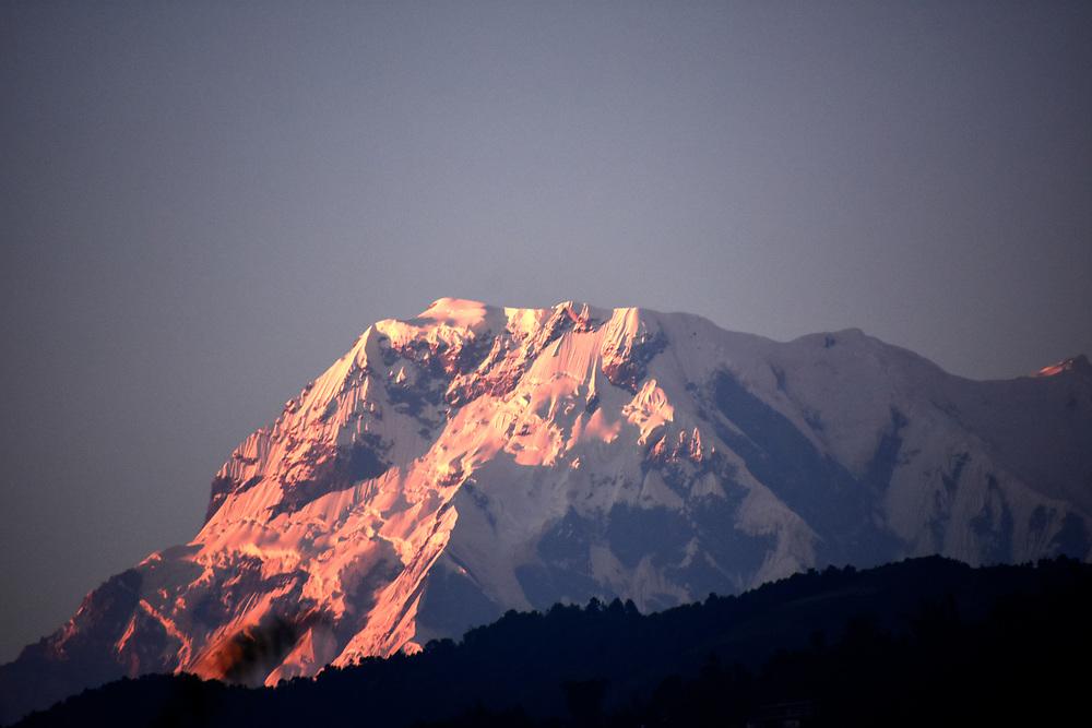 Sunset on the mountains of Pokhara, from the Peace pagoda, Pokhara, Nepal