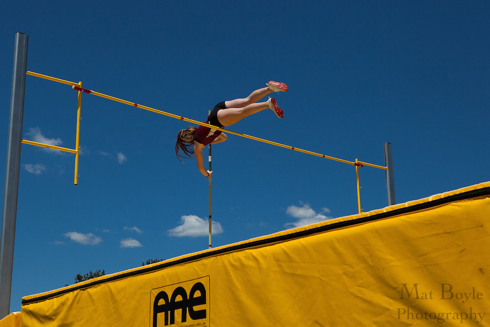 Ramapo College sophomore Danielle Wankmuller competes in Women's pole vault at the NJAC Track and Field Championships at Richard Wacker Stadium on the campus of  Rowan University  in Glassboro, NJ on Saturday May 4, 2013. (photo / Mat Boyle)