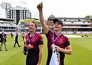 Josh Davey of Somerset  and Tom Abell of Somerset celebrating winning the One Day Cup during the Royal London 1 Day Cup Final match between Somerset County Cricket Club and Hampshire County Cricket Club at Lord's Cricket Ground, St John's Wood, United Kingdom on 25 May 2019.