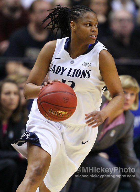 March 03, 2012; Indianapolis, IN, USA; Penn State Lady Lions guard Zhaque Gray (12) dribbles the ball around the backcourt against the Purdue Boilermakers during the semifinals of the 2012 Big Ten Tournament at Bankers Life Fieldhouse. Purdue defeated Penn State 68-66. Mandatory credit: Michael Hickey-US PRESSWIRE
