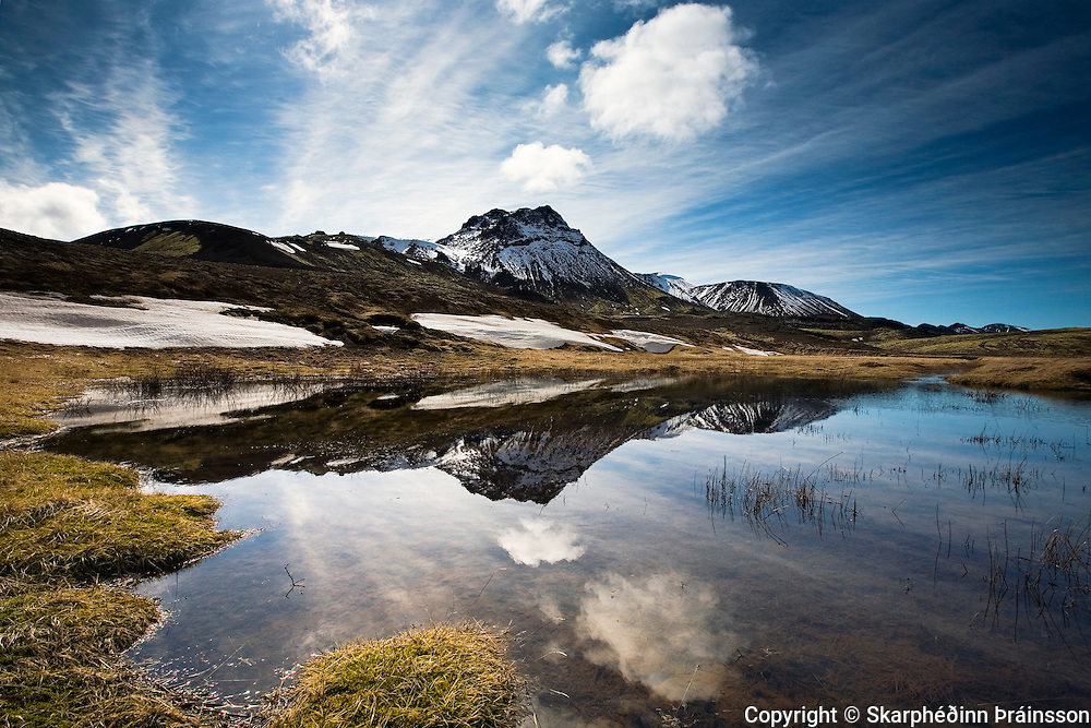 Mt. Vífilsfell reflecting in a pond