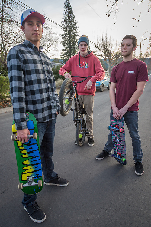"""We like hiking, fishing, biking, skiing...anything outside.""  -Ethan Behrens hangs out with friends Luke Morgan and Liam Hunemuller on North Oak Street in Calistoga."