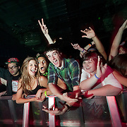 March 28, 2012 - New York, NY : Fans mug for the camera as British dubstep music producers (DJ's) Skream & Benga perform at the Best Buy Theater in Manhattan on Wednesday evening. CREDIT: Karsten Moran for The New York Times