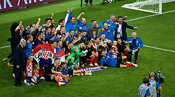 MOSCOW, RUSSIA - Wednesday, July 11, 2018: Croatia players celebrate after the FIFA World Cup Russia 2018 Semi-Final match between Croatia and England at the Luzhniki Stadium. Croatia won 2-1 after extra-time. (Pic by David Rawcliffe/Propaganda)