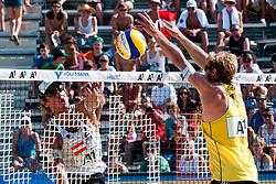 Daniel Hupfer of Austria vs Sebastian Dollinger of Germany at A1 Beach Volleyball Grand Slam tournament of Swatch FIVB World Tour 2011, on August 3, 2011 in Klagenfurt, Austria. (Photo by Matic Klansek Velej / Sportida)