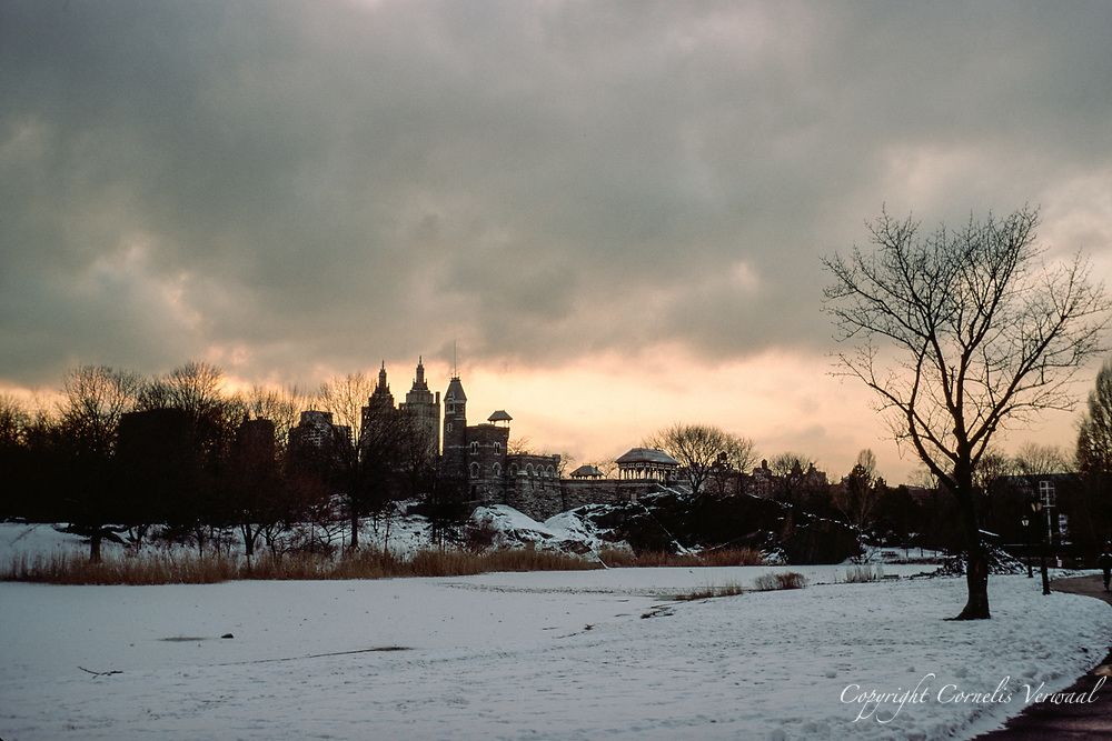 Belvedere Castle and Turtle Pond after a snow storm, Central Park, New York City, 1994.