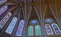 Our Lady of Chartres Cathedral, Chartres, France.  Clerestory and apse rose and lancet stained glass windows featuring Old Testament prophets, and Kings and Queens.