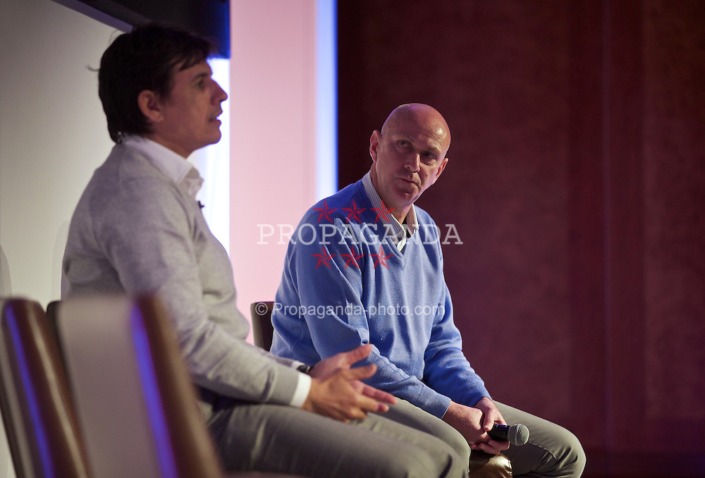 NEWPORT, WALES - Saturday, May 30, 2015: Wales' head of pubic affairs Ian Gwyn Hughes with manager Chris Coleman during the Football Association of Wales' National Coaches Conference 2015 at the Celtic Manor Resort. (Pic by David Rawcliffe/Propaganda)