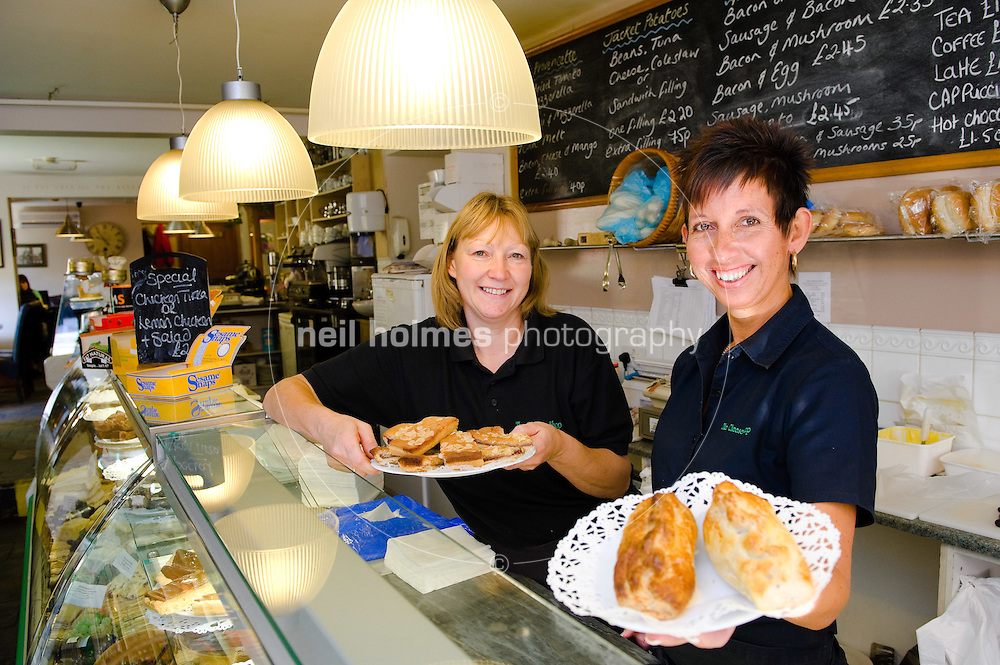 Howden, East Yorkshire, pictured LtoR Josie Brownbridge and owner  of the Cheese Shop, Debbie Bell with some of their fine produce.