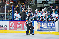 KELOWNA, CANADA - DECEMBER 27:  Jake Morrissey #31 of the Kelowna Rockets stands on the bench opposite the Kamloops Blazers at the Kelowna Rockets on December 27, 2012 at Prospera Place in Kelowna, British Columbia, Canada (Photo by Marissa Baecker/Shoot the Breeze) *** Local Caption *** Jake Morrissey;